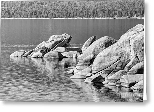 Sand Harbor Lake Tahoe Bw Greeting Card by Marv Vandehey