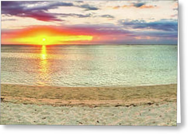 Sandy Beach At Sunset. Panorama  Greeting Card