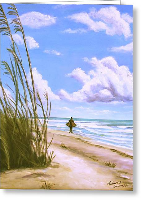 Greeting Card featuring the painting Sanibel Surfer  by Melinda Saminski
