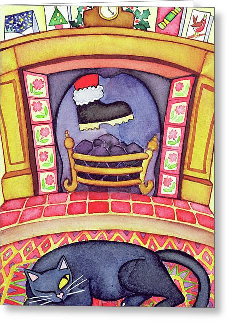 Santa Arriving Down The Chimney Greeting Card by Cathy Baxter