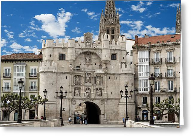Santa Maria Arch - Old City Entry - Burgos Spain Greeting Card by Jon Berghoff