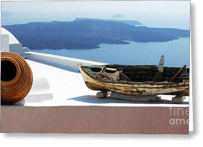 Santorini Greece Greeting Card by Bob Christopher