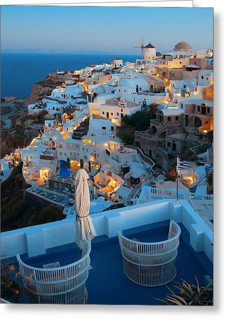 Santorini Skyline Greeting Card by Songquan Deng