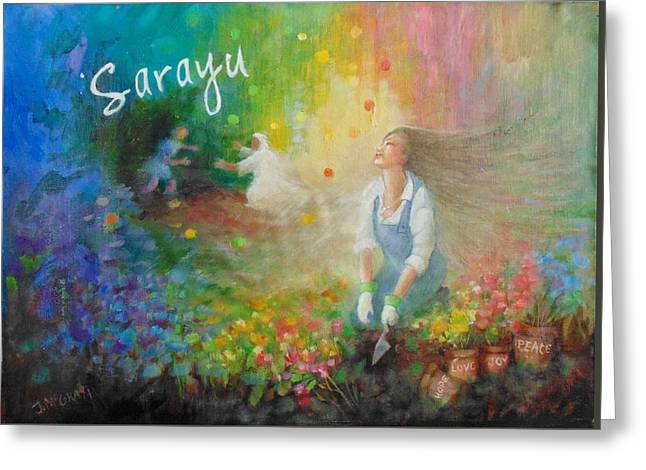 Sarayu Greeting Card by Janet McGrath