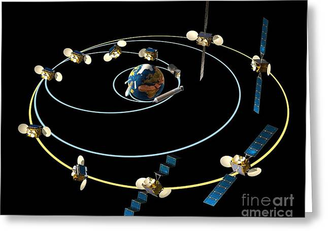 Satellite Launch Sequence Diagram Greeting Card by David Ducros