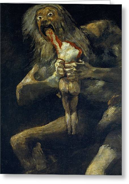 Saturn Devouring His Son Greeting Card