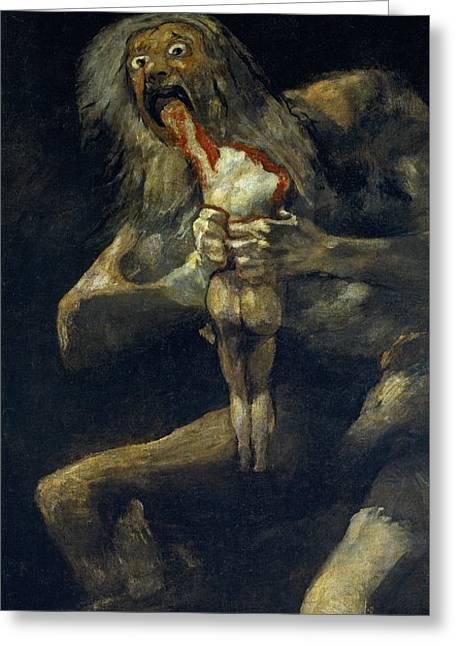Saturn Devouring His Son Greeting Card by Francisco Goya