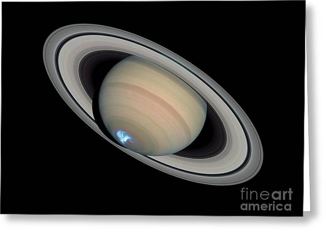 Saturns Dynamic Aurora Greeting Card