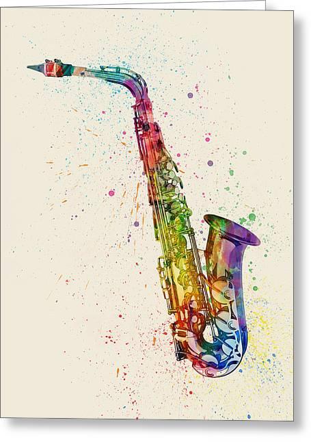 Saxophone Abstract Watercolor Greeting Card