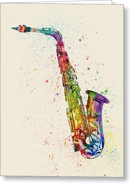 Saxophone Abstract Watercolor Greeting Card