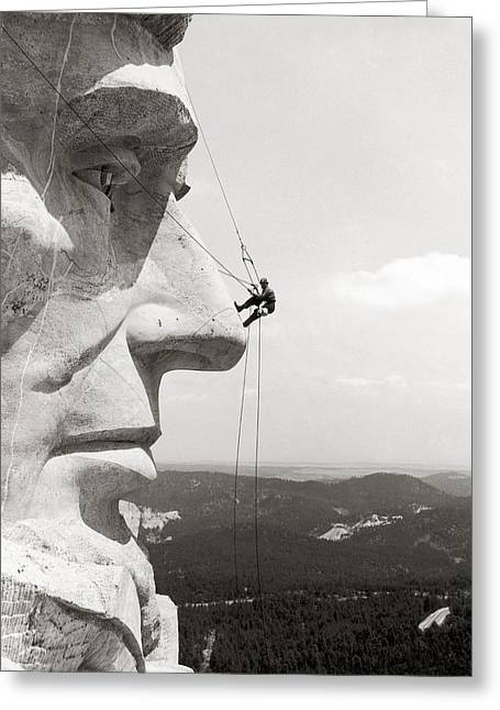 National Memorial Greeting Cards - Scaling Mount Rushmore Greeting Card by Granger