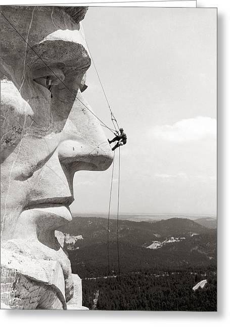 Scaling Mount Rushmore Greeting Card by Granger