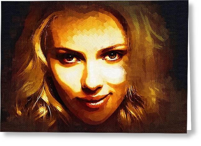 Scarlett Johansson Art Greeting Card by Best Actors