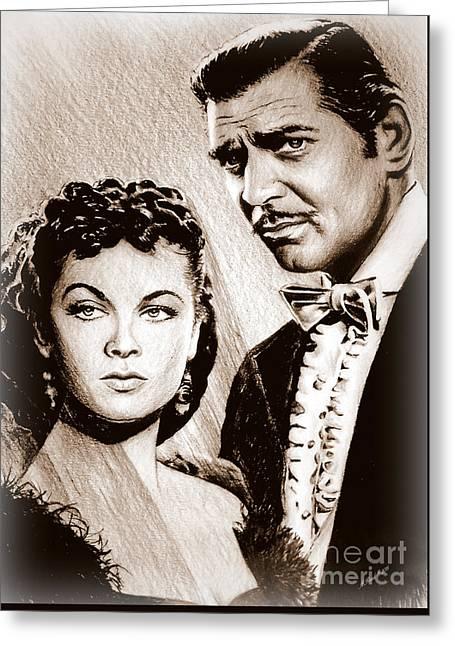 Scarlett O Hara And Rhett Butler Greeting Card