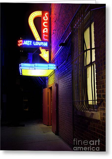 Greeting Card featuring the photograph Scat Jazz Lounge 1 by Elena Nosyreva