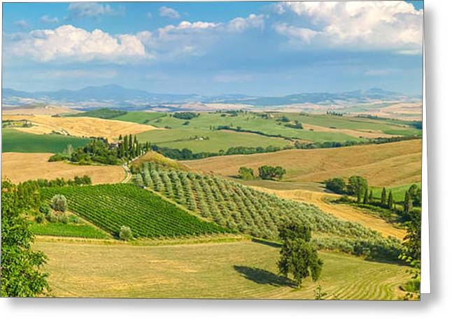 Scenic Tuscany Landscape At Sunset, Val D'orcia, Italy Greeting Card