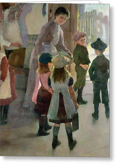 School Is Out Greeting Card by Elizabeth Adela Stanhope Forbes