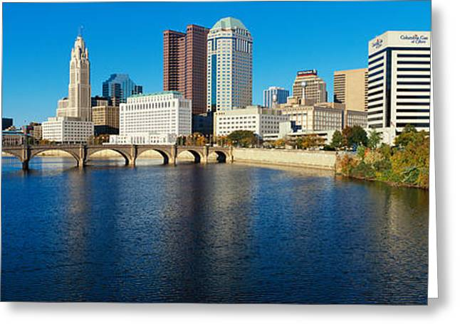 Scioto River And Columbus Ohio Skyline Greeting Card by Panoramic Images