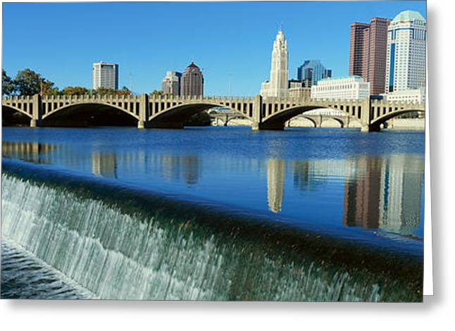 Scioto River With Waterfall Greeting Card by Panoramic Images