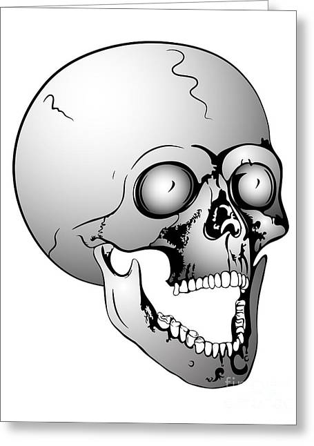 Screaming Skull Greeting Card by Michal Boubin