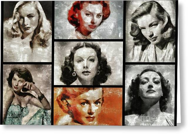 Screen Sirens - Hollywood Legendary Actresses Greeting Card by Esoterica Art Agency