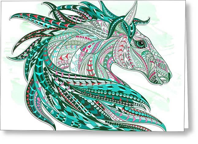 Sea Green Ethnic Horse Greeting Card