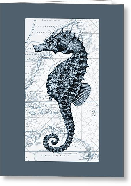 Sea Horse Nautical Chart Greeting Card