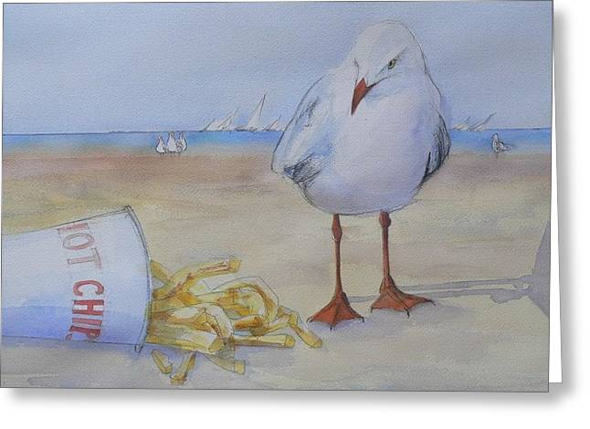 Seagull And Hot Chips Greeting Card by Tony Northover