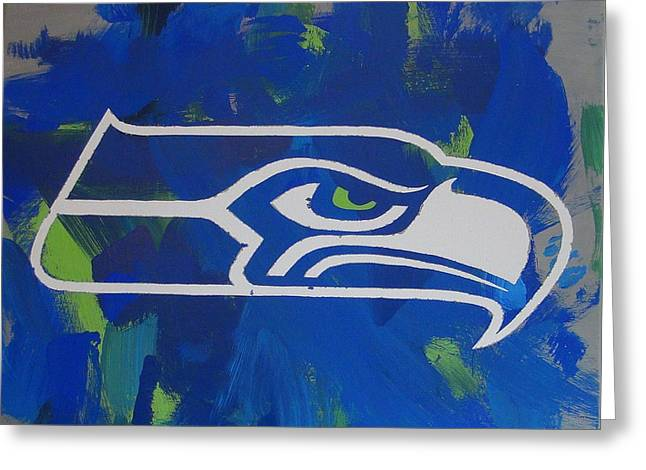 Greeting Card featuring the painting Seahawks Fan by Candace Shrope