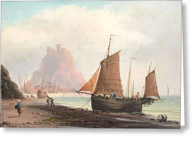 Seascape With Boats On A Beach Greeting Card