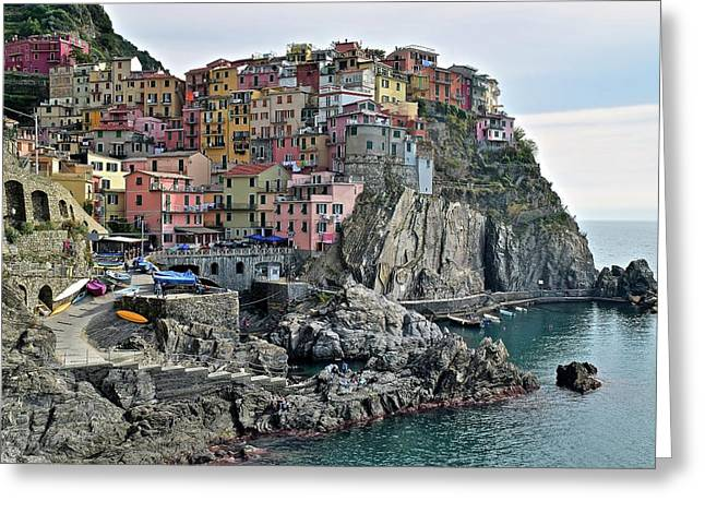 Greeting Card featuring the photograph Seaside Village by Frozen in Time Fine Art Photography