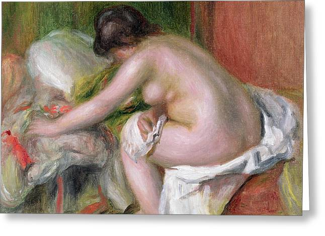 Seated Bather Greeting Card by Pierre Auguste Renoir