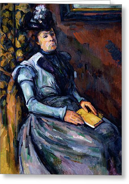 Seated Woman In Blue Greeting Card by Paul Cezanne