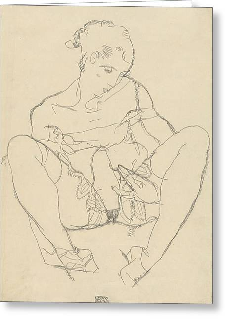 Seated Woman In Chemise Greeting Card