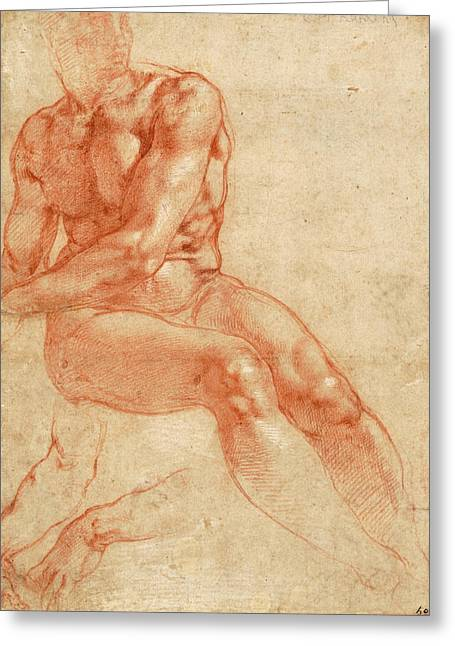 Seated Young Male Nude And Two Arm Studies Greeting Card by Michelangelo Buonarroti