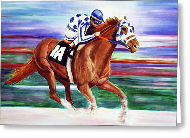 Secretariat Painting Blurred Speed Greeting Card