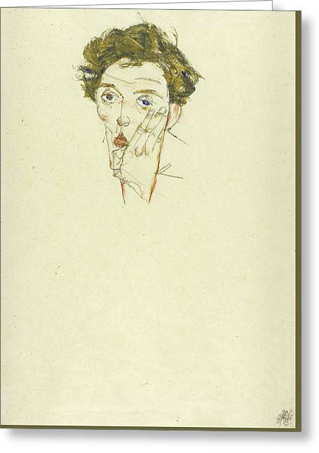 Self Portrait Greeting Card by Egon Schiele