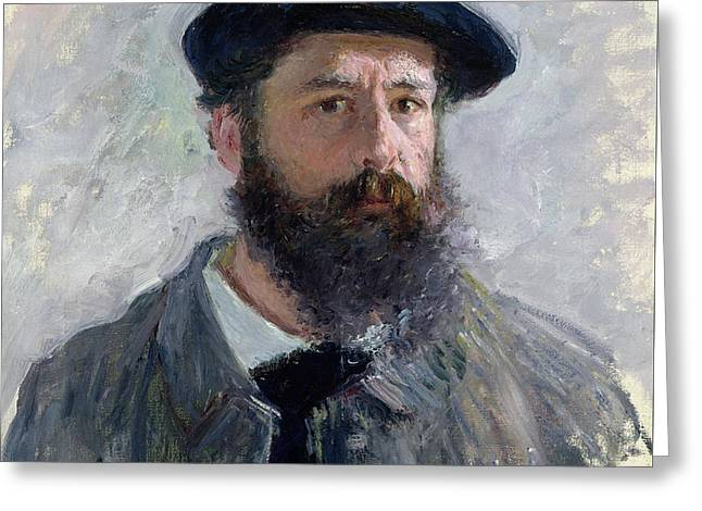 Collar Greeting Cards - Self Portrait with a Beret Greeting Card by Claude Monet