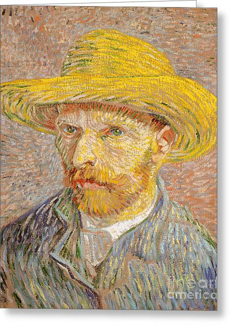 Self-portrait With A Straw Hat Greeting Card by Vincent Willem van Gogh