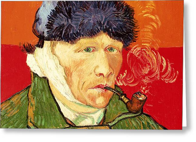 Self Portrait With Bandaged Ear And Pipe Greeting Card by Vincent van Gogh