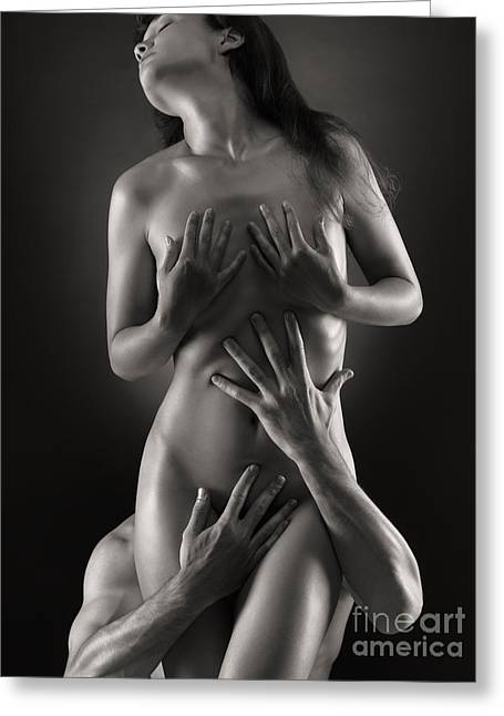 Caress Greeting Cards - Sensual Photo of Man and Woman Greeting Card by Oleksiy Maksymenko
