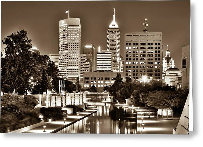 Sepia Indianapolis Skyline Cityscape - Indiana - Usa  Greeting Card