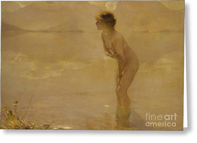 September Morn Greeting Card by Paul Chabas