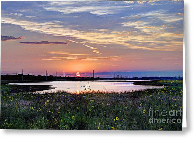September Sunrise Over The Baker Wetlands Greeting Card by Jean Hutchison
