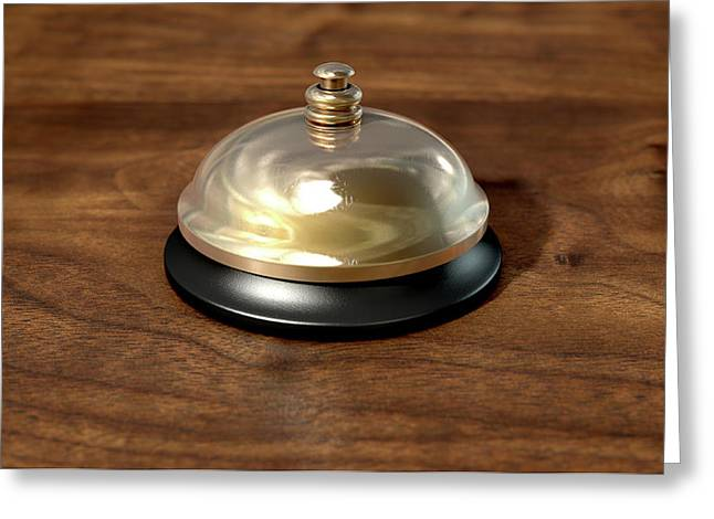 Service Bell Brass Greeting Card by Allan Swart