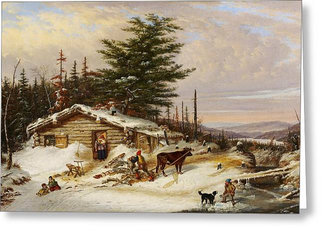 Settler's Log House Greeting Card by Cornelius Krieghoff