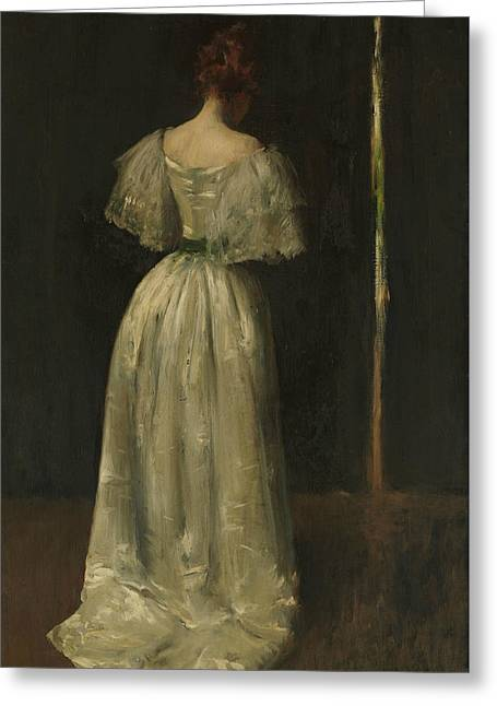 Seventeenth Century Lady Greeting Card by William Merritt Chase