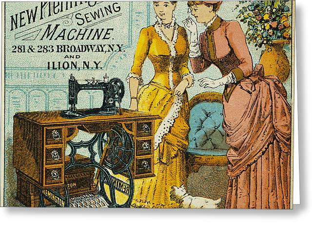 Trade Card Greeting Cards - SEWING MACHINE AD, c1880 Greeting Card by Granger