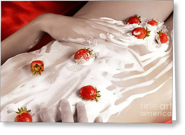 Sexy Nude Woman Body Covered With Cream And Strawberries Greeting Card