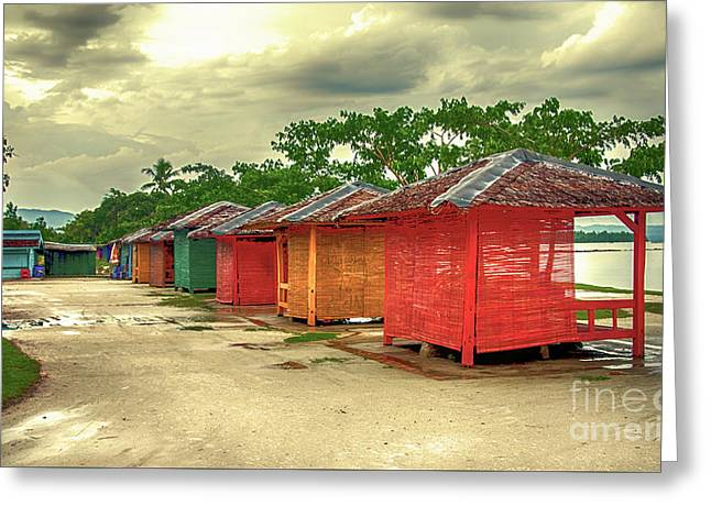 Greeting Card featuring the photograph Shacks by Charuhas Images